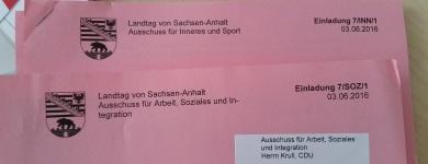 Einladungen zu den Landtagsausschüssen