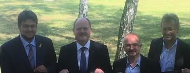 Tobias Krull MdL, Minister Thomas Webel, Ratsfraktionsvors- Wigbert Schwenke und Stadtratsvorsitzender Andreas Schumann MdL (v.l.n.r.)