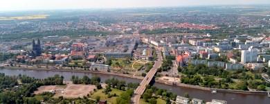 Die Magdeburger Innenstadt von oben