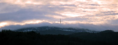 Blick auf den Brocken am Morgen